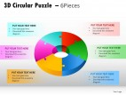 3d Circular Puzzle 6 Pieces PowerPoint Presentation Slides