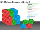 3d Cubes Broken Style 2 PowerPoint Presentation Slides