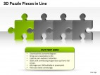 3d Puzzle Pieces In Line PowerPoint Presentation Slides