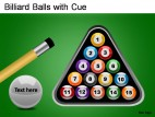 Billiard Balls With Cue PowerPoint Presentation Slides
