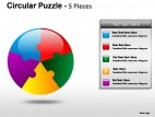 Circular Puzzle 5 Pieces PowerPoint Presentation Slides