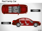 Red Family Car Top View PowerPoint Presentation Slides