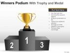 Winners Podium With Trophy PowerPoint Presentation Slides
