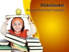 Adorable Girl Studying Education PowerPoint Backgrounds And Templates 1210