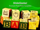 Baby Blocks Education PowerPoint Template 1010