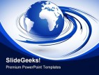 Blue Earth Globe PowerPoint Template 1110