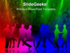 Dancing People Music PowerPoint Template 0610