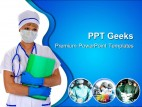 Doctor In Mask With Reports Medical PowerPoint Templates And PowerPoint Backgrounds 0411