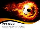 Football With Flames Sports PowerPoint Templates And PowerPoint Backgrounds 0411