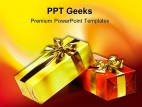 Gift Box With Golden Ribbon Events PowerPoint Templates And PowerPoint Backgrounds 0411