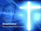 Glowing Cross Religion PowerPoint Template 0610