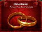 Golden Rings Wedding PowerPoint Template 0610