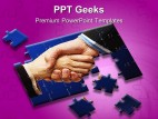 Handshake Puzzles Business PowerPoint Templates And PowerPoint Backgrounds 0411