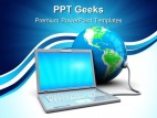 Laptop And Earth Globe PowerPoint Templates And PowerPoint Backgrounds 0411