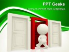 Person Entering A Door Metaphor PowerPoint Templates And PowerPoint Backgrounds 0411
