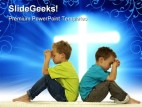 Praying Boys Religion PowerPoint Template 0610