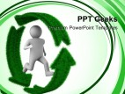 Running Person On Recycle Environment PowerPoint Templates And PowerPoint Backgrounds 0411