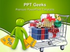 Shopping Cart With Presents Sales PowerPoint Templates And PowerPoint Backgrounds 0411