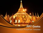 Shwedagon Pagoda At Night Religion PowerPoint Templates And PowerPoint Backgrounds 0411