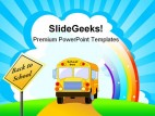 Yellow School Bus Education PowerPoint Template 1110