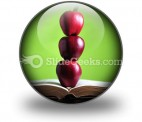 Apples On Book PowerPoint Icon C