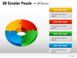 3d Circular Puzzle 4 Pieces PowerPoint Presentation Slides