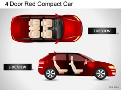 4 Door Red Car Top View PowerPoint Presentation Slides