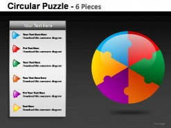 Circular Puzzle 6 Pieces PowerPoint Presentation Slides