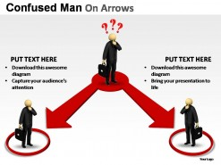 Confused Man On Arrows PowerPoint Presentation Slides