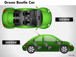 Green Beetle Car Side View PowerPoint Presentation Slides