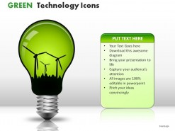 Green Technology Icons PowerPoint Presentation Slides