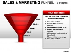 Sales And Marketing Funnel 5 Stages PowerPoint Presentation Slides