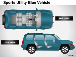 Sports Utility Blue Vehicle Top View PowerPoint Presentation Slides