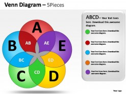 Venn Diagram 5 Pieces PowerPoint Presentation Slides