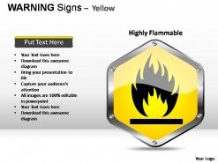 Warning Sign Yellow PowerPoint Presentation Slides