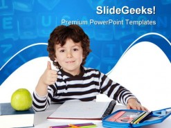 Adorable Boy Studying Education PowerPoint Template 1010