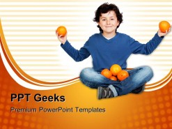 Adorable Child With Many Oranges Food PowerPoint Templates And PowerPoint Backgrounds 0411