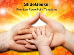 Baby Hand Holding Family PowerPoint Template 0810