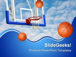 Basketballs Net Sports PowerPoint Backgrounds And Templates 1210