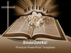 Believe Religion PowerPoint Template 0610