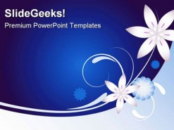 Blue Floral01 Abstract Beauty PowerPoint Template 0910