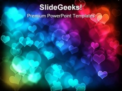 Bokeh Effect Heart Background PowerPoint Template 0610