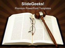 Book Gavel Glasses PowerPoint Template 1110