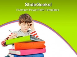 Boy Reading Books Education PowerPoint Template 1010