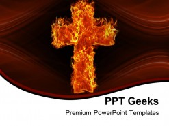 Burning Cross Religion PowerPoint Templates And PowerPoint Backgrounds 0411