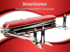 Business People On Penknife Business Template 1010
