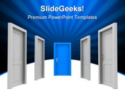 Choose The Door Business PowerPoint Template 0910