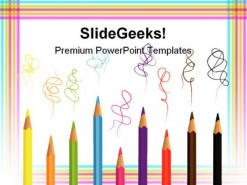 Colored Pencils Education PowerPoint Template 0810