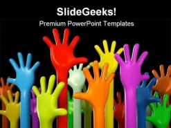 Colourful Hands People PowerPoint Template 1110