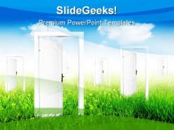 Doors To New World Nature PowerPoint Template 0910